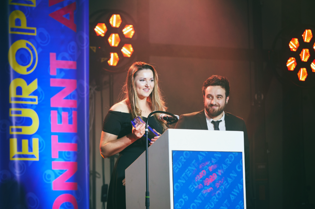 Image shows Evolved Search winning at the European Content Awards 2020.