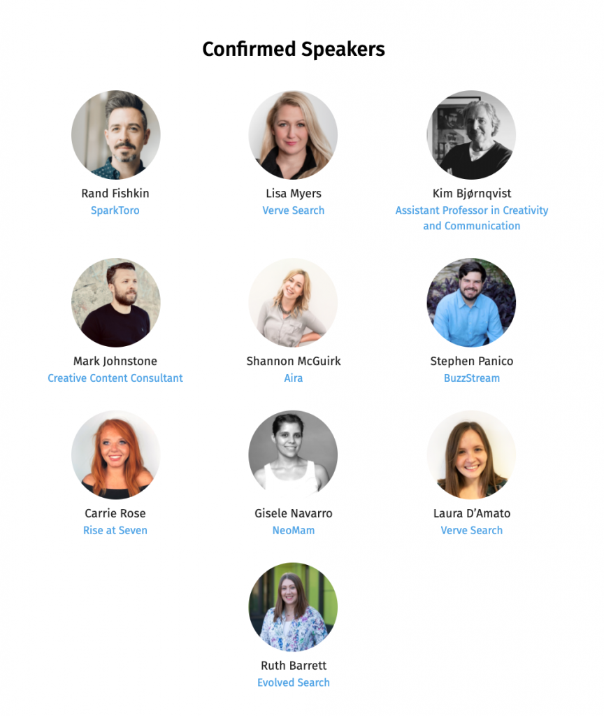 Speakers at Outreach Online 2020, including Evolved Search's Ruth Barrett