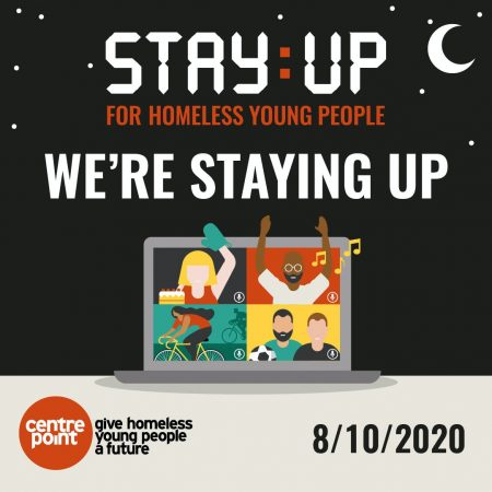 Image shows promo graphic for Stay:Up 2020 Challenge